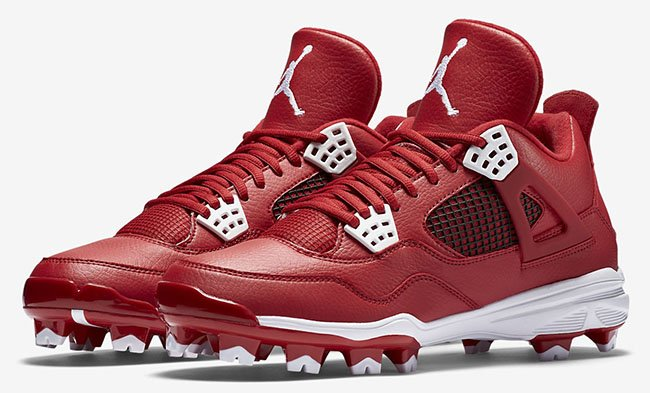 Air Jordan 4 Cleats Red White