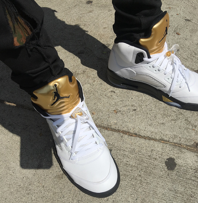Air Jordan 5 Gold Tongue On Feet