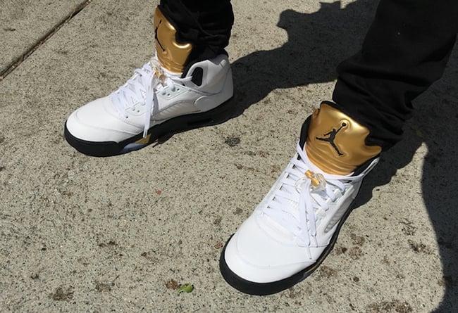 Air Jordan 5 Gold Tongue On Feet