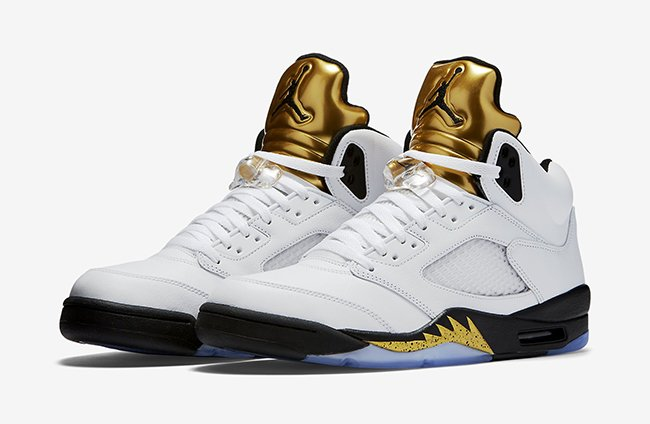 Air Jordan 5 Olympic White Black Gold Release Date  1235d5c2f