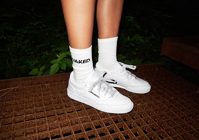 NAKED x Reebok Club C White Perforated