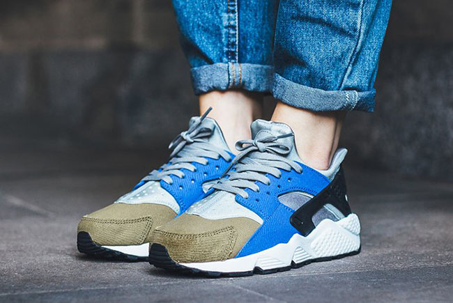5ba00ce220891 Nike Air Huarache Run Premium Olive Silver Royal