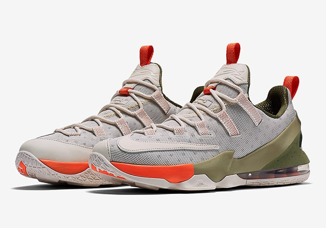 Nike LeBron 13 Low Premium Neutral Olive Orange