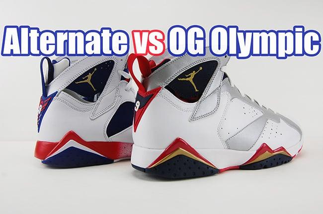 c38fdf87710410 Tinker Alternate OG Olympic Air Jordan 7 Comparison