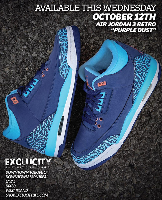 Air Jordan 3 Blue Cap Purple Dust Atomic Pink