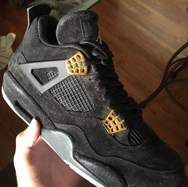 Air Jordan 4 Black Suede Glow in the Dark