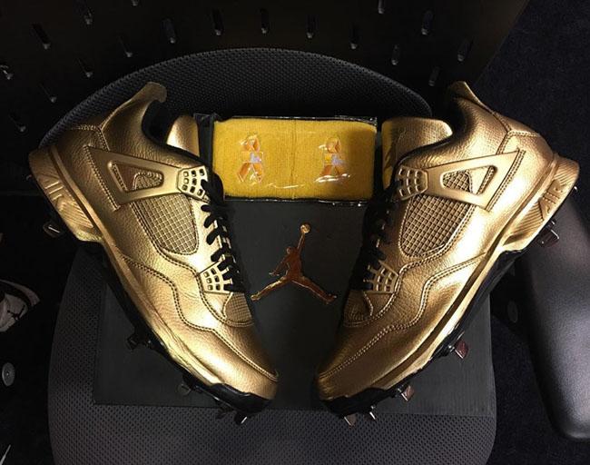 Air Jordan 4 Gold Cleats Gio Gonzalez