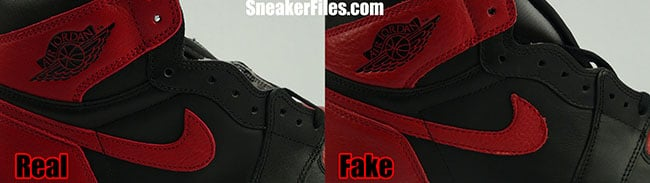3bc5adb6adbd Real Fake Air Jordan 1 Banned Stitching