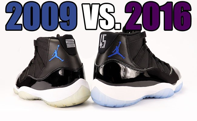 2016 vs 2009 Air Jordan 11 Space Jam Comparison