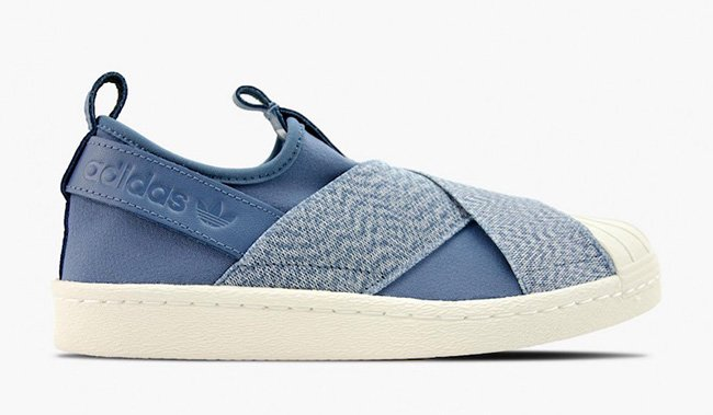 adidas superstar slip on blu