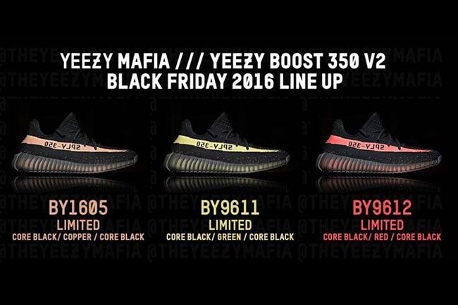 Yeezy 350 v2 Core Black Copper / Red Core Black / Green Core Black