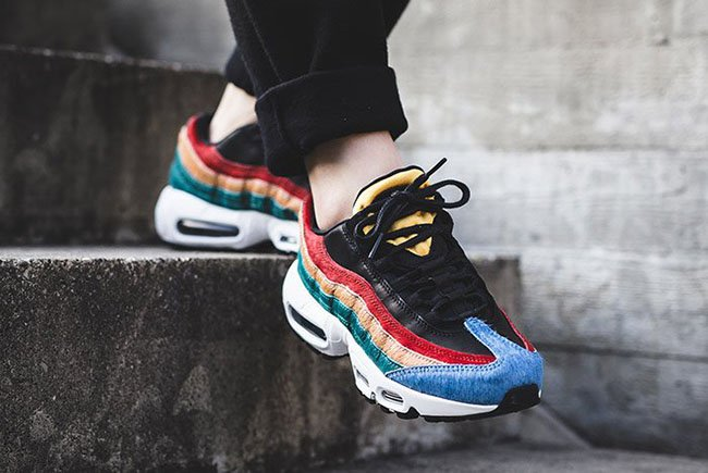 nike w air max 95 premium black & dark cayenne