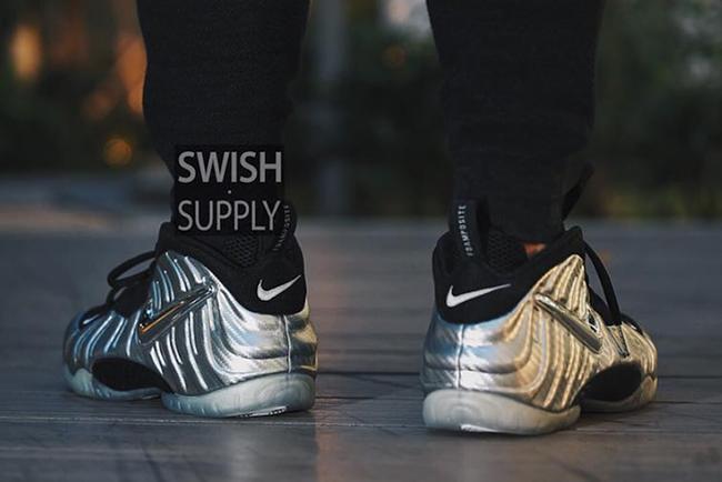 Nike Foamposite Pro Silver Surfer On Feet