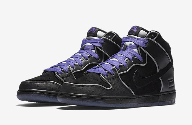 Nike SB Dunk High Black Purple Box