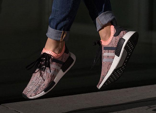 adidas NMD R1 Primeknit Sun Glow On Feet