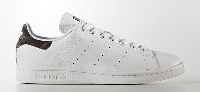 adidas Stan Smith White Croc Camo Heel