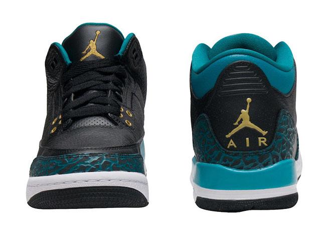 Air Jordan 3 GS Rio Teal Black Metallic Gold