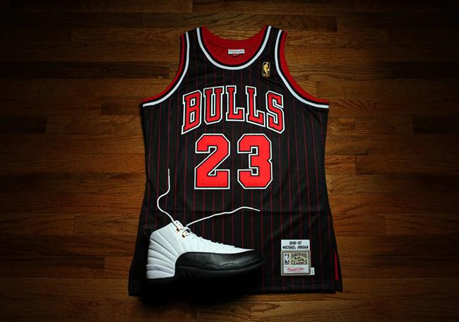 c0b26ed0f71 Michael Jordan 1996-97 Black Pinstripe Jersey Mitchell Ness ...