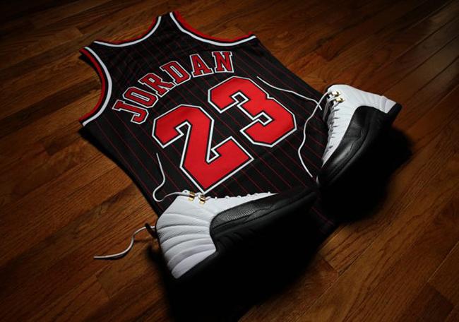 separation shoes b5dbd cb129 Michael Jordan 1996-97 Black Pinstripe Jersey Mitchell Ness ...