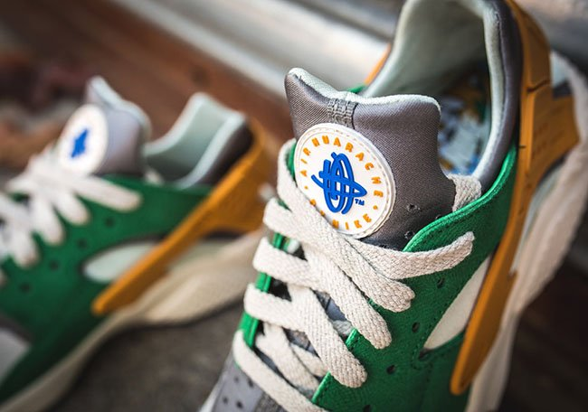 nike huarache green and gold