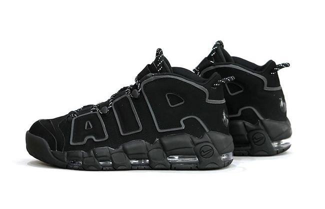 Nike Air More Uptempo Triple Black 3M Reflective