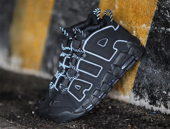 Nike Air More Uptempo Triple Black 3M Reflective
