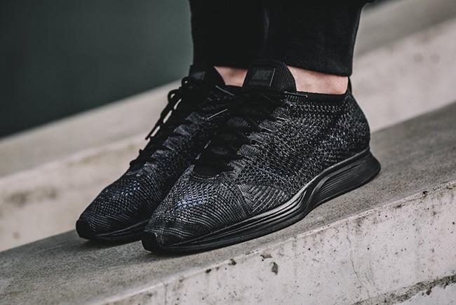 Nike Flyknit Racer Triple Black On Feet