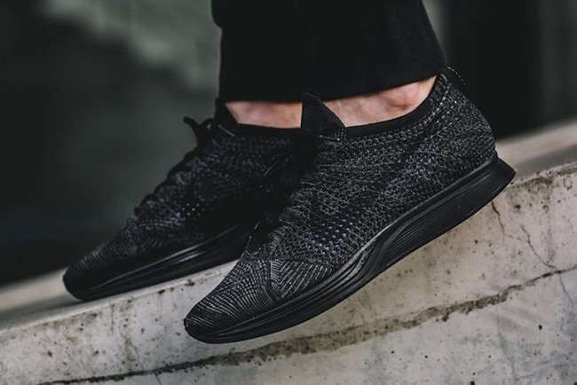finest selection d5d7e 59977 Nike Flyknit Racer Triple Black On Feet