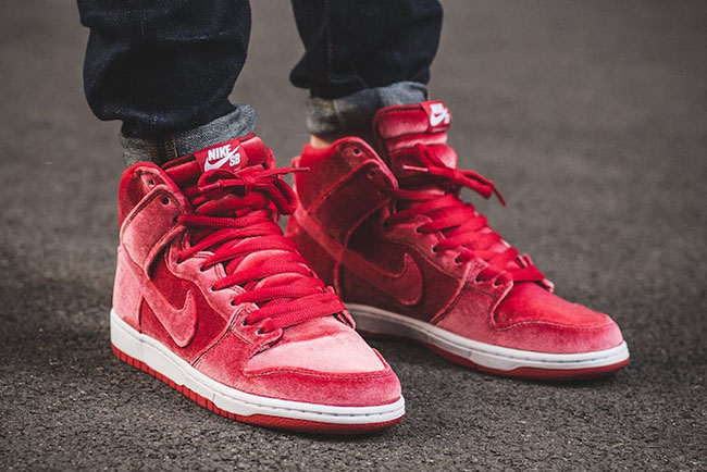Nike SB Dunk High Red Velvet On Feet