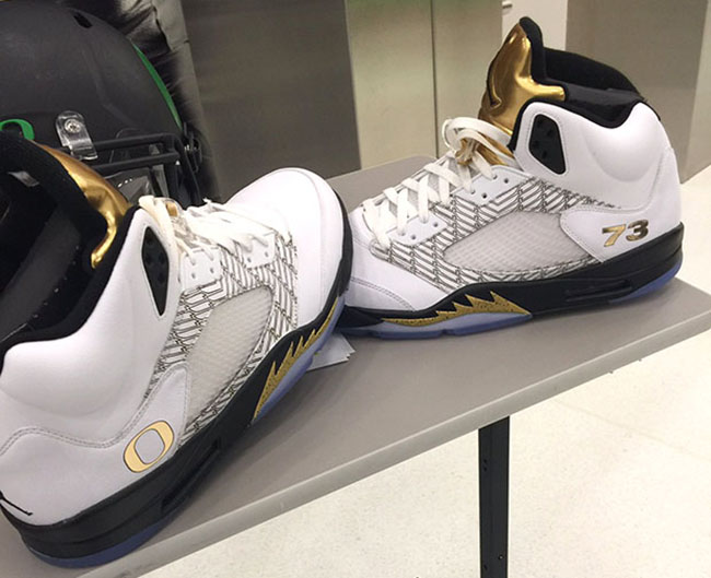 Oregon Ducks Air Jordan 5 Gold Medal PE