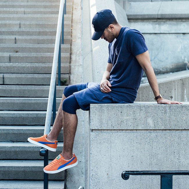 new concept f67d0 62e54 Puma Clyde NYC Knicks Orange Blue Suede | SneakerFiles