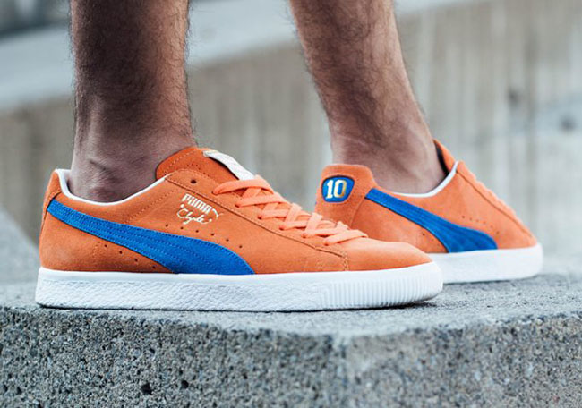 new concept fbee8 a337c Puma Clyde NYC Knicks Orange Blue Suede | SneakerFiles