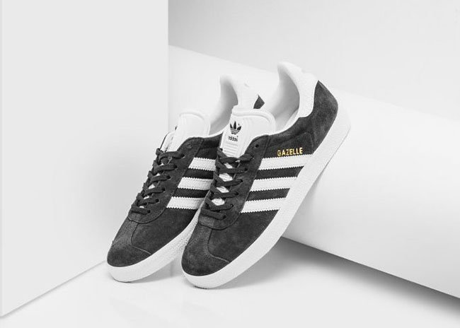 adidas womens black and white gazelle sneakers