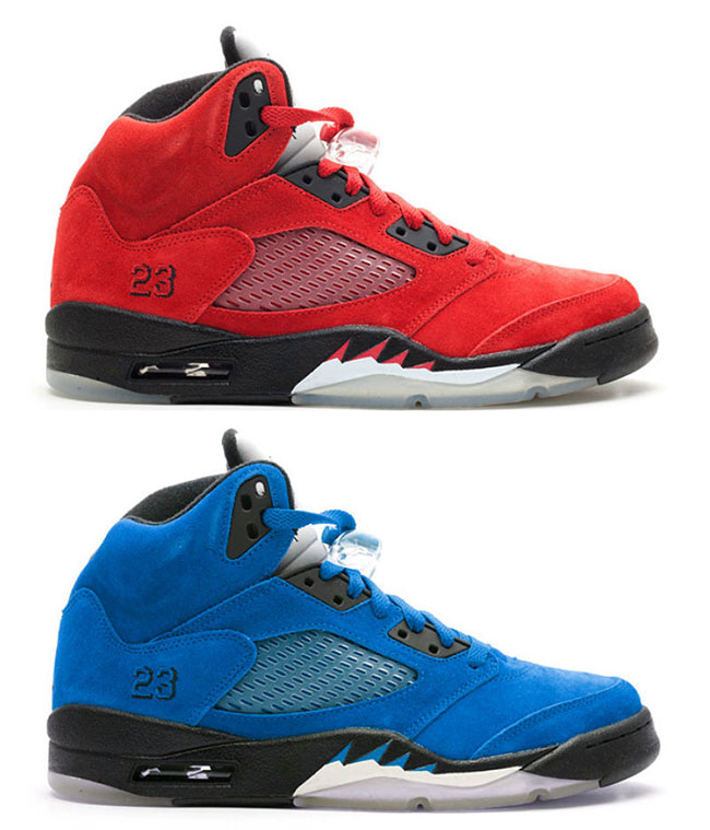 Air Jordan 5 Red Blue Suede