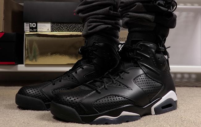 Air Jordan 6 Black Cat On Feet
