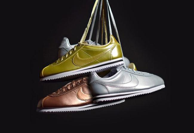 Nike Cortez Metallic Pack Gold Silver
