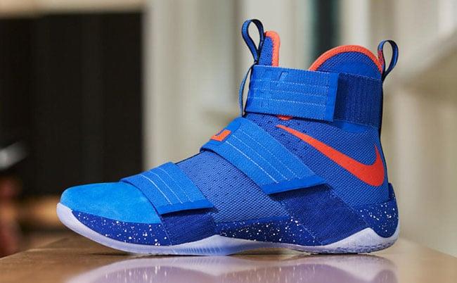 Nike LeBron Soldier 10 Hardwood Classics Cavs Blue Orange f624f7e73