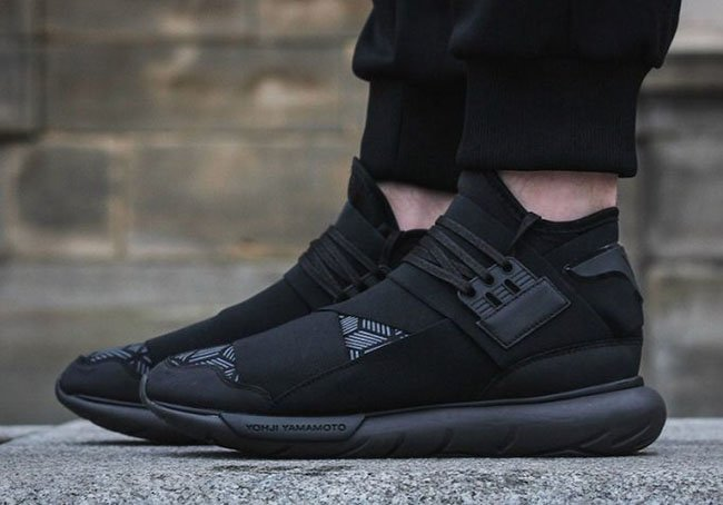 0a4168f94a1b adidas Y-3 Qasa High Triple Black Geometric Pattern