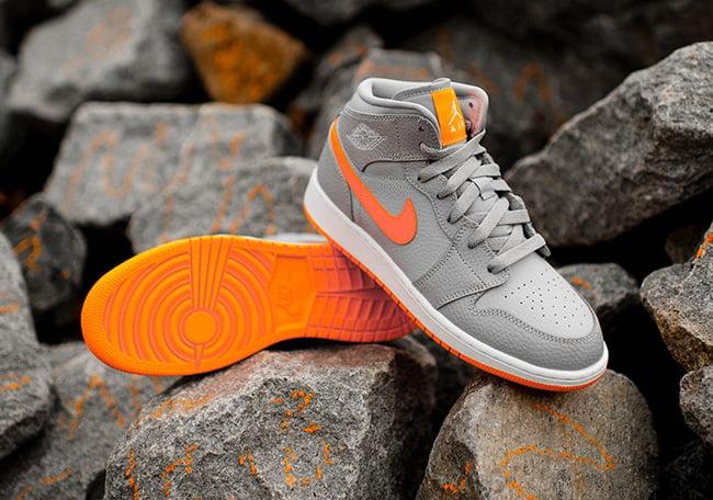 Air Jordan 1 Mid Bright Citrus Wolf Grey Kids