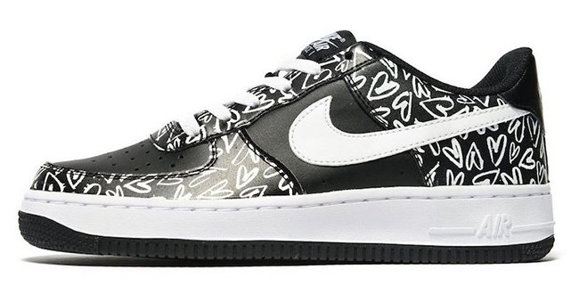 Nike Air Force 1 Low Hearts Black White