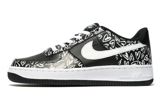 new styles 8d467 2810a Nike Air Force 1 Low Hearts Black White