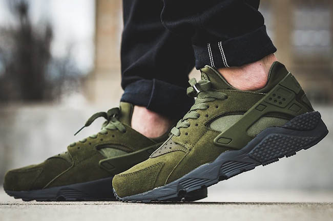 Nike Air Huarache Legion Green On Feet