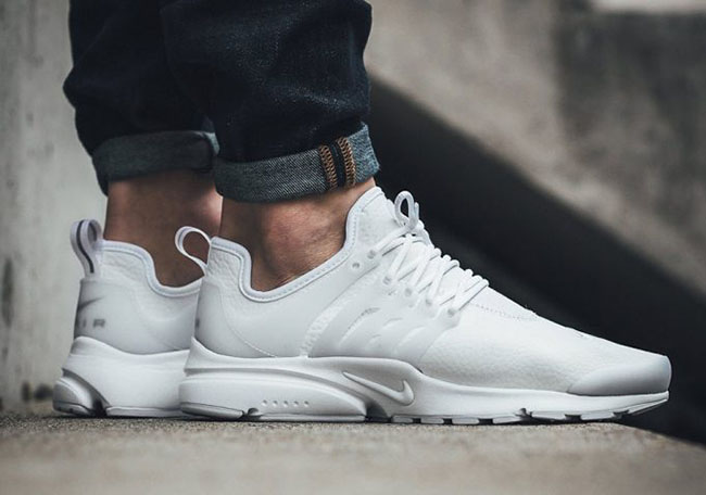 online retailer 680db 4e4e6 Nike Air Presto Premium Leather Triple White