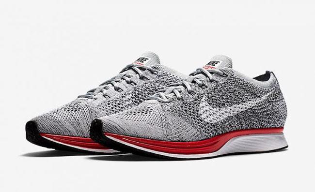 Nike Flyknit Racer Wolf Grey Red Midsole