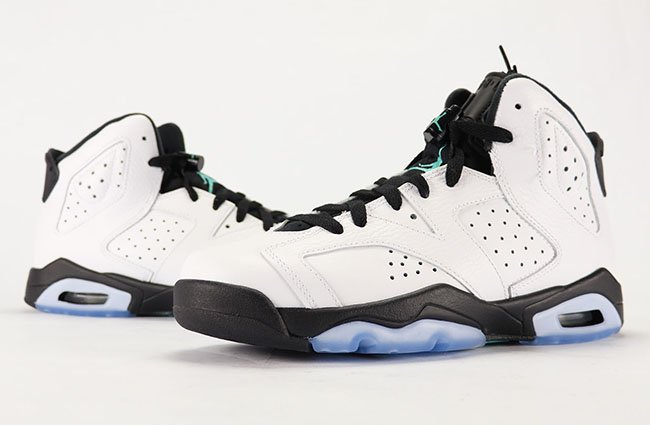 19f632f892d2 Air Jordan 6 GS White Black Hyper Jade 384665-122