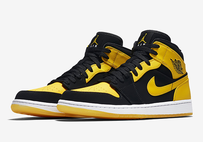 nike air jordan 1 retro mid black yellow swooshes