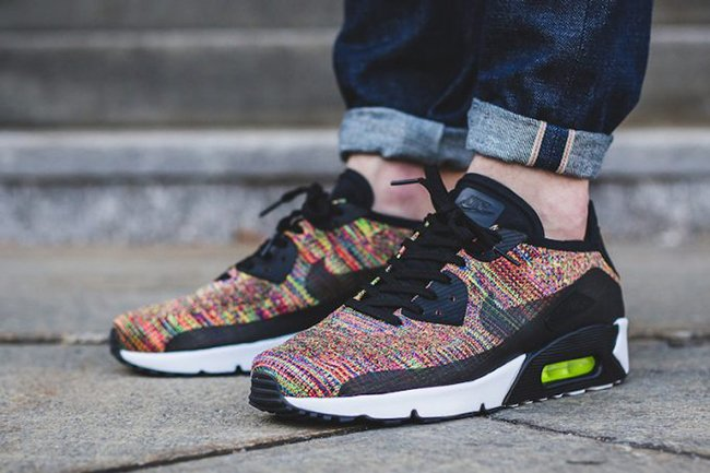 finest selection 6e444 d36b2 Nike Air Max 90 Ultra Flyknit Multicolor 2.0 875943-002 ...