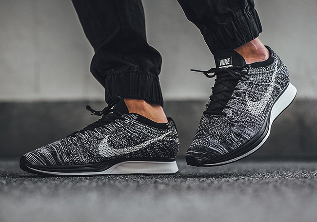 ... pure platinum base t; nike flyknit racer oreo 2.0 on feet