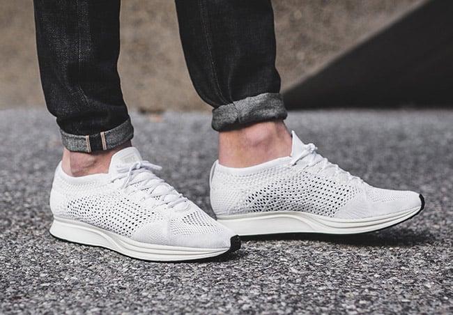 Nike Flyknit Racer Triple White On Foot