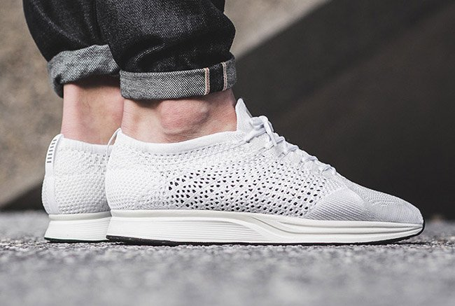 Nike Flyknit Racer Triple White On Foot